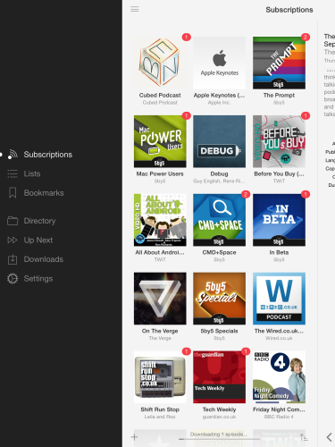 Instacast 4 on the iPad
